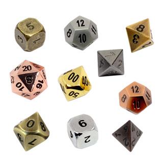 7 Metal Polyhedral Dice