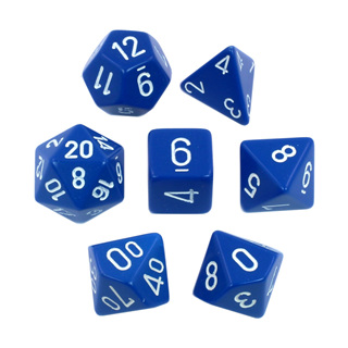 7 Blue with White Opaque Dice