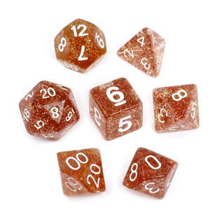 7 Orange with White Glitter Dice
