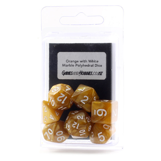 7 Orange Marbled Polyhedral Dice with White Numbers Games and Hobbies NZ