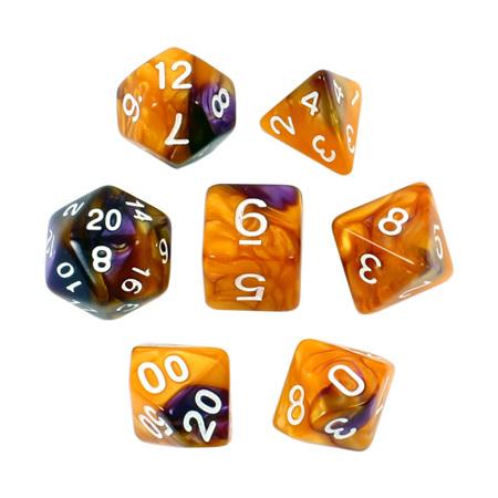 7 Orange & Purple with White Fusion Dice