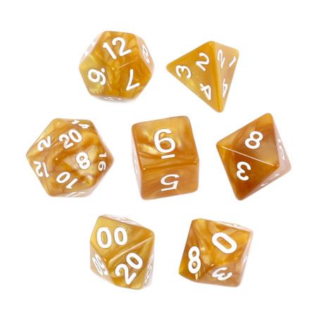 7 Orange with White Marble Dice