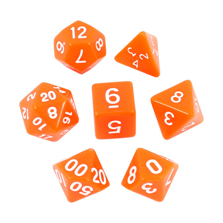 7 Orange with White Standard Dice