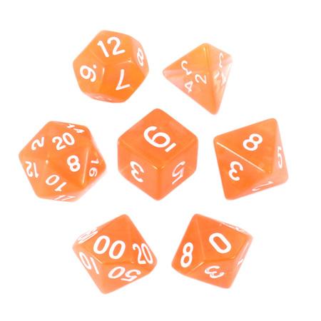 7 Orange with White Translucent Dice