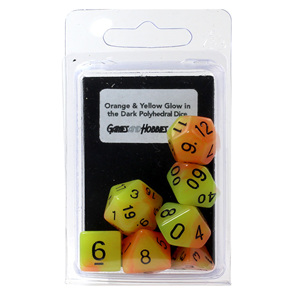 7 Orange & Yellow Glow in the Dark Polyhedral Dice with Black Games and Hobbies