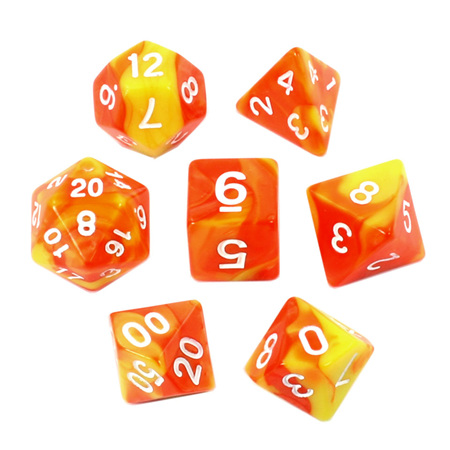 7 Orange & Yellow with White Fusion Dice