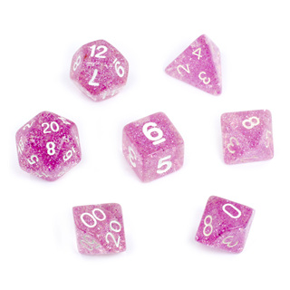 7 Pink Glitter Polyhedral Dice with White Numbers