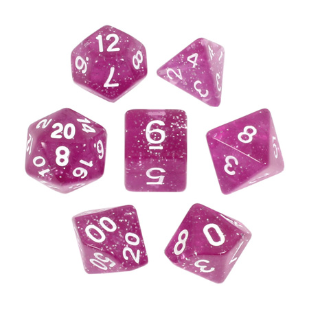 7 Pink with White Glitter Dice
