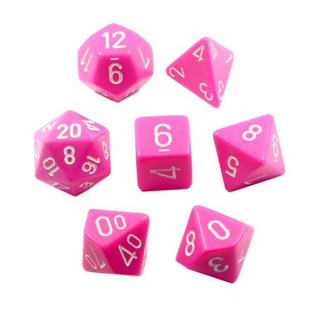 7 Pink with White Opaque Dice
