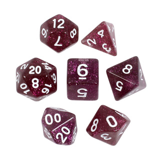 7 Plum with White Glitter Dice