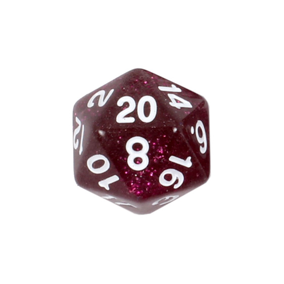 7 Plum Glitter with White Polyhedral Dice Games and Hobbies New Zealand NZ