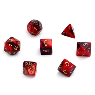 7 Purple & Red with Gold Gemini Dice