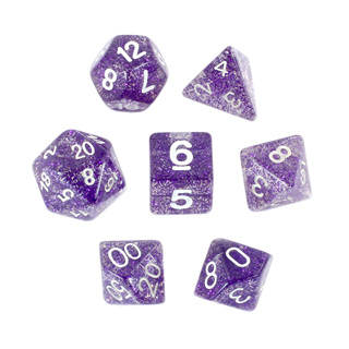 7 Purple with White Glitter Dice