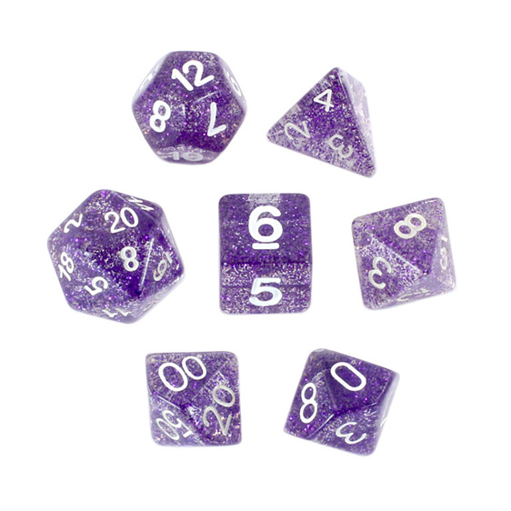 7 Purple Glitter Polyhedral Dice Games and Hobbies New Zealand NZ