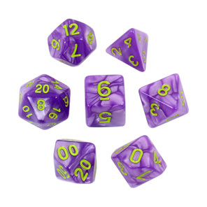 7 Purple Marble Polyhedral Dice with Green Numbers Games and Hobbies NZ