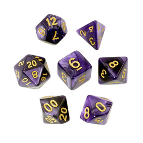 7 Purple Marbled Polyhedral Dice with Gold Numbers Games and Hobbies NZ