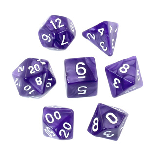 7 Purple with White Marble Dice