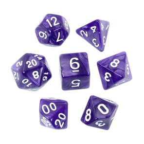 7 Purple Marbled Polyhedral Dice with White Numbers Games and Hobbies NZ