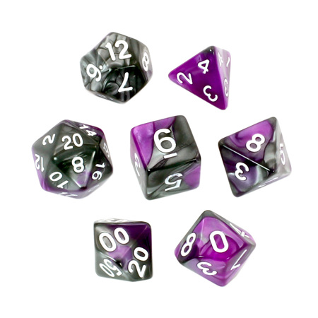 7 Purple & Steel with White Fusion Dice