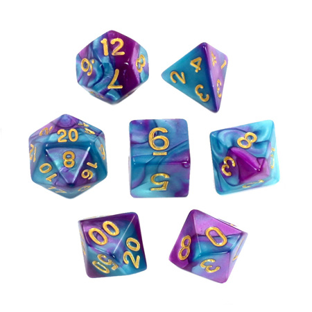 7 Purple & Teal with Gold Fusion Dice