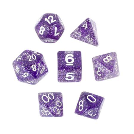 7 Purple with White Glitter Dice