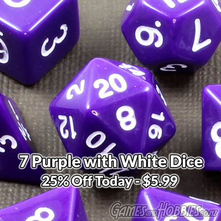 7 Purple with White Standard Dice