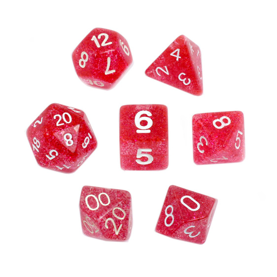 7 Red Glitter Polyhedral Dice Games and Hobbies New Zealand NZ