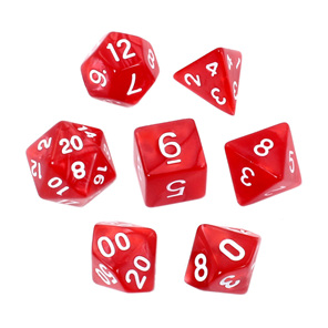 7 Red Marbled Polyhedral Dice with Gold Numbers Games and Hobbies NZ