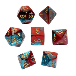 7 Red & Teal with Gold Gemini Dice