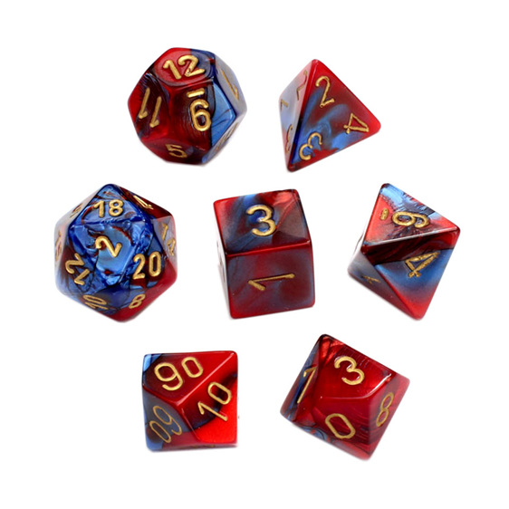 7 Red & Teal Gemini Polyhedral Dice with Gold Numbers Games and Hobbies NZ