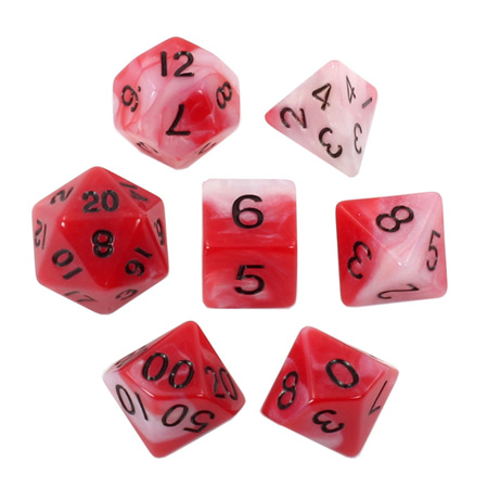 7 Red & White with Black Fusion Dice