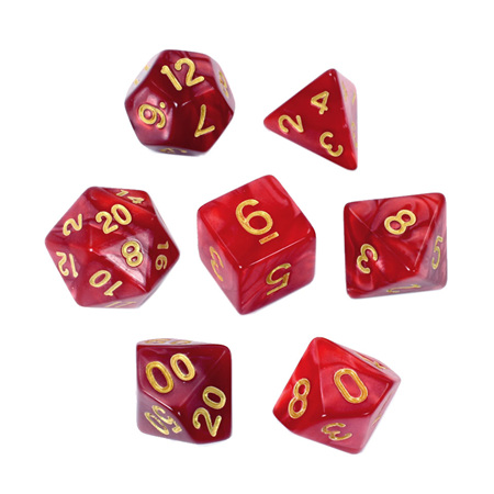 7 Red with Gold Marble Dice