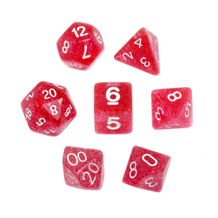 7 Red with White Glitter Dice