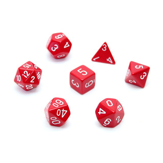7 Red with White Opaque Dice