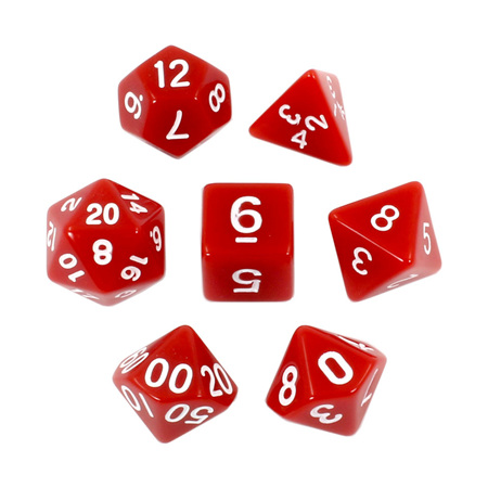 7 Red with White Standard Dice