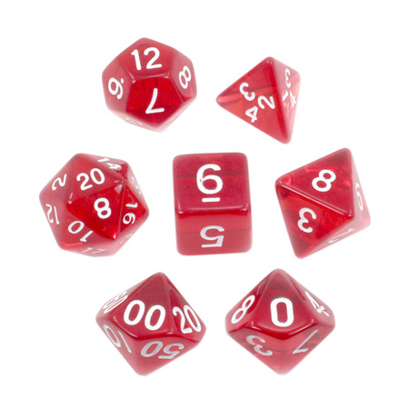 7 Red with White Translucent Dice