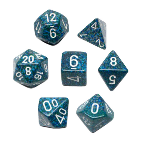 7 'Sea' Speckled Polyhedral Dice