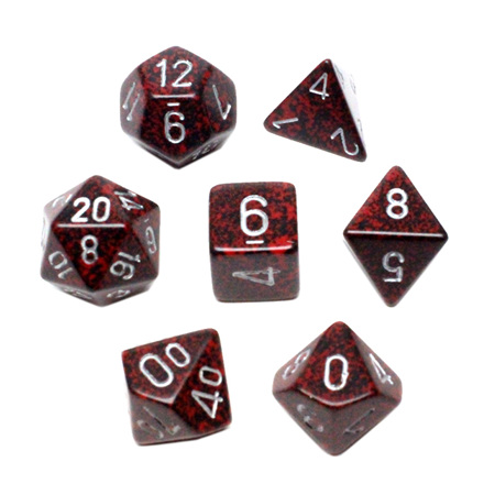 7 'Silver Volcano' Speckled Dice