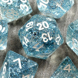 7 Sky Blue Glitter Polyhedral Dice Games and Hobbies New Zealand NZ