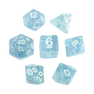 7 Sky Blue with White Glitter Dice