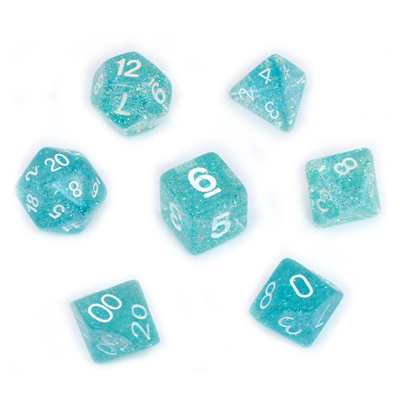 7 Sky Blue Glitter Polyhedral Dice with White Numbers