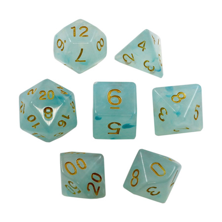 7 Sky Blue Pastel with Gold Vapour Dice