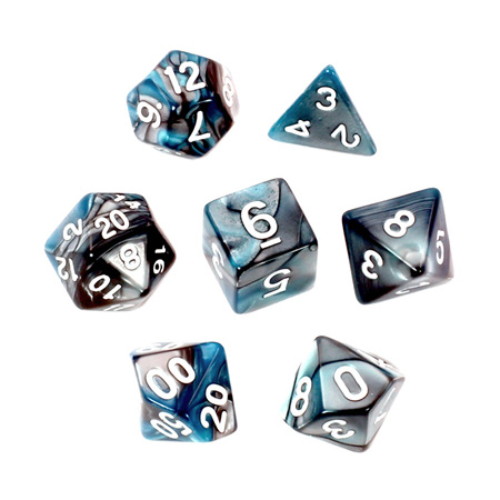 7 Steel & Teal with White Fusion Dice