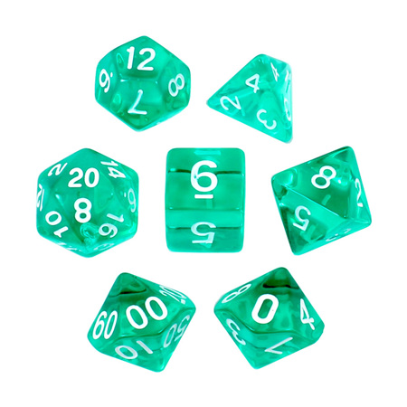 7 Turquoise with White Translucent Dice