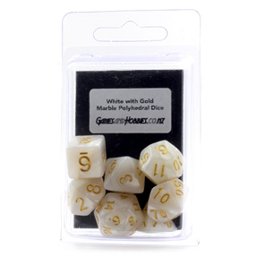 7 White Marbled Polyhedral Dice with Gold Numbers Games and Hobbies NZ