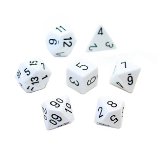 7 White with Black Opaque Dice