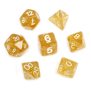 7 Yellow with White Glitter Dice