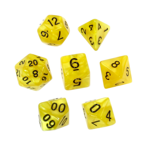7 Yellow Marbled Polyhedral Dice with Black Numbers Games and Hobbies NZ