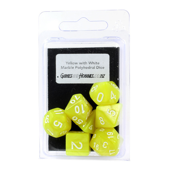 7 Yellow Marbled Polyhedral Dice with White Numbers Games and Hobbies NZ