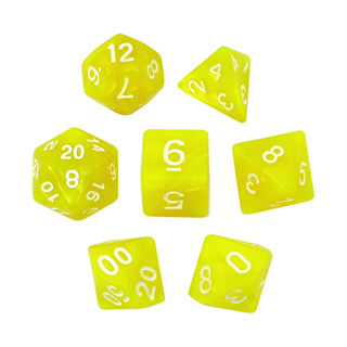 7 Yellow with White Marble Dice
